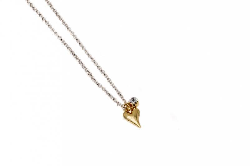 10730 Kort smykke sølvfarget kjede, liten sten og gullfarget hje