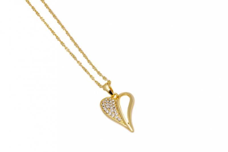 10733 Kort smykke gullfarget hjerte med blanke stener på en side
