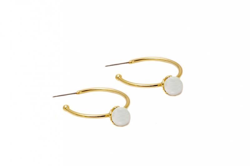 60164 Øredobb gullfarget ring med perle og stener