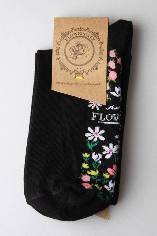 42002 Sokker sort med blomstereng under foten