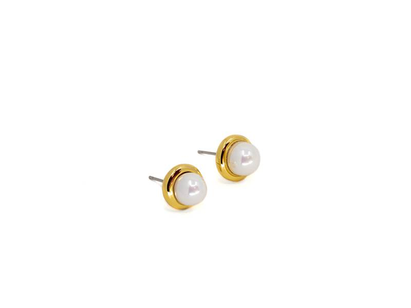 60145 Øredobb rund hvit perle
