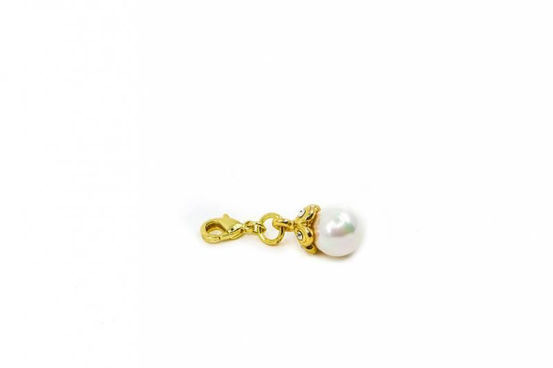 40077 Clips hvit perle gullfarget